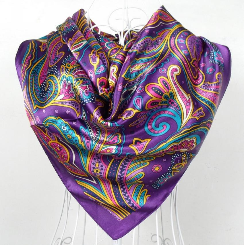 Écharpe en Satin pour femme 90x90cm   Grand foulard carré imprimé, écharpe en soie et Polyester violet, collection printemps et automne 2017
