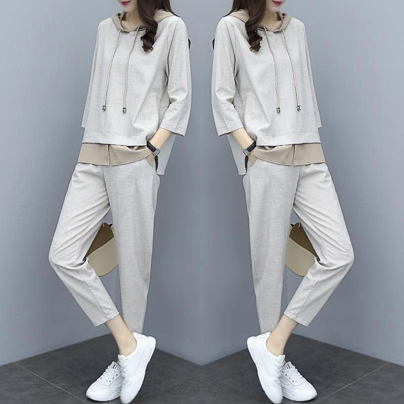 Комплект из 2 предметов, Весенний новый спортивный костюм для женщин, корейский стиль, свободные брюки большого размера