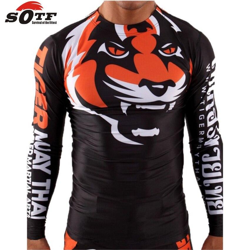 SOTF плотная эластичная одежда для бодибилдинга Тигр Муай Тай ММА боксерская