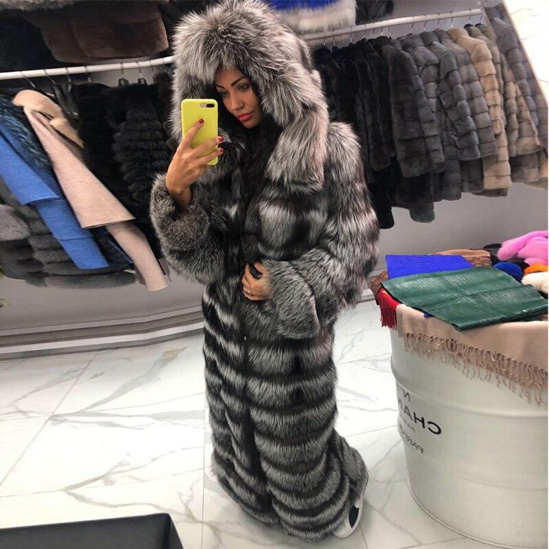 FURSARCAR lujoso abrigo de piel de zorro de plata gruesa Casual mujeres Real Fox chaqueta Chaleco de piel abajo invierno capucha de piel x-long abrigos