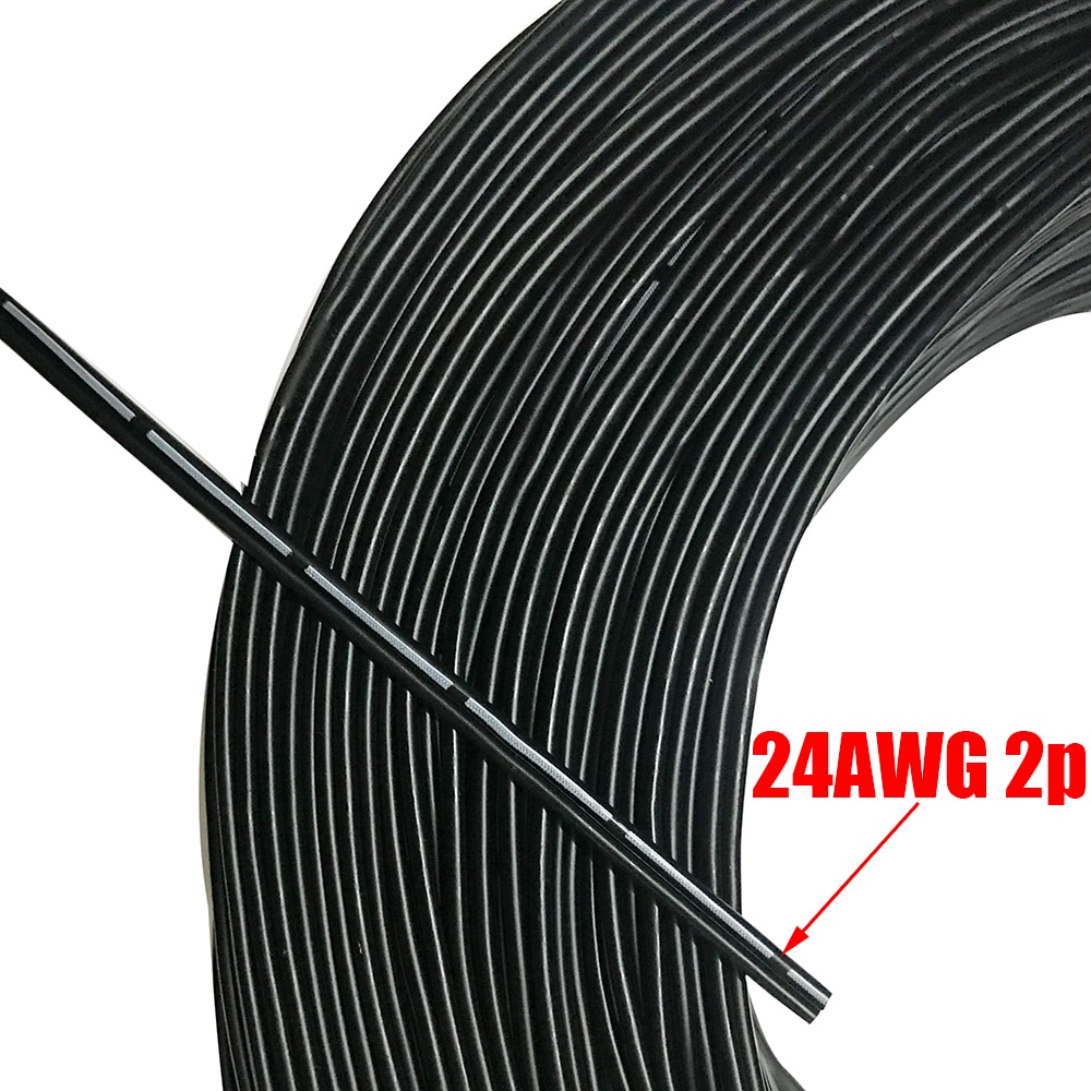 Cable de silicona ultradelgado de 5M y 20 M, línea de prueba 24AWG 2P OD, Cable de núcleo múltiple de 3,2mm, Cable paralelo de alta temperatura