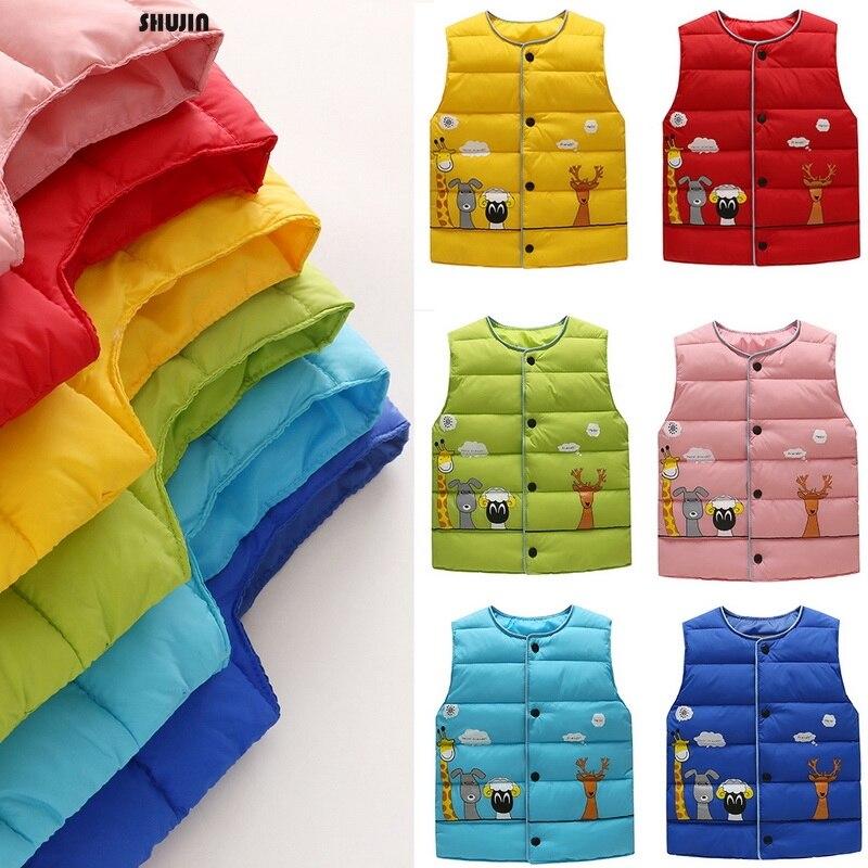 Oeak зимние утепленные жилеты для маленьких детей Новые однотонные пуховые пальто