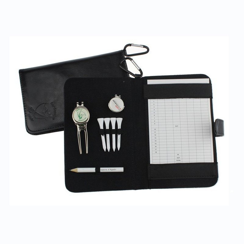 OEM Custom Logo Golf Score Card Holder Easy Carry Golf Gifts  for Friend  with Divot Tool Hat Clip Wood Tees and Pencil