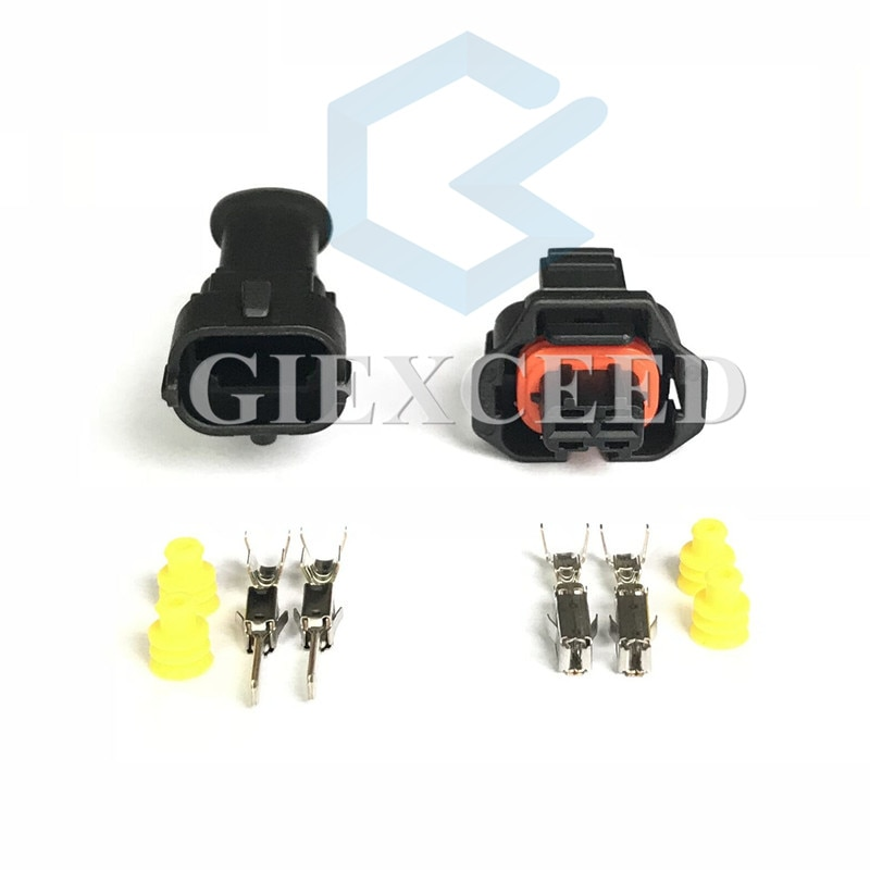 2 Sets 2 Pin 1928403874 Diesel 1928404226 combustible común inyector para riel macho Sensor de cigüeñal hembra para Bosch Ford Renault