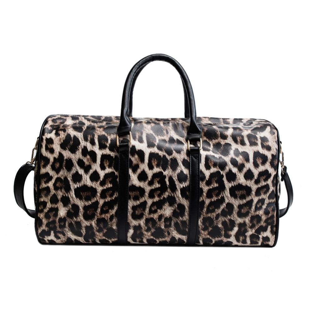 De las mujeres de la moda cuero de leopardo bolso de gran capacidad de viaje Honda DaWanda bolsos de hombro de cuero de la PU de fin de semana de lona bolsa de mensajero