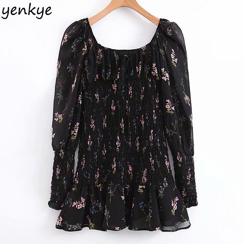 Summer Dress 2019 Women Sexy Elastic Floral Print Chiffon Dress Romantic Lady Black Puff Sleeve  Party Mini Dress Short vestidos