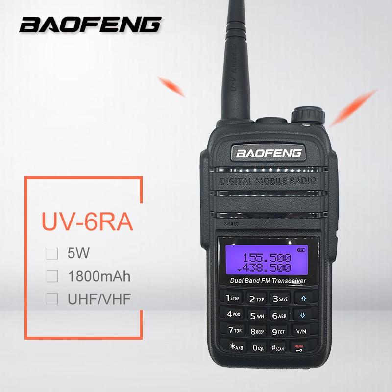 De BAOFENG UV-6RA 5W Walkie Talkie Amateur Radio UHF, VHF Ham Radio transmisor móvil Woki Toki transceptor HF UV 6RA