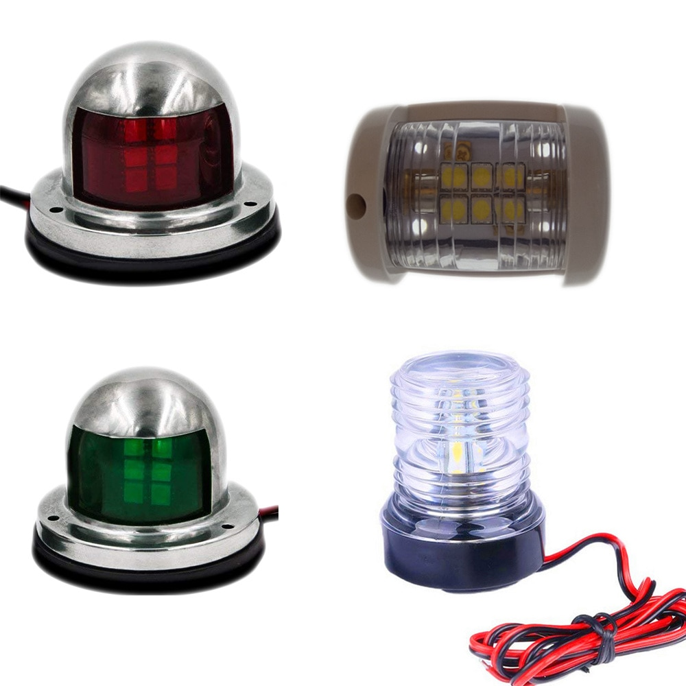Universal Marine Boat Yacht Navigation Light LED 360 Degree All Round Light 12V Red/Green/White Navigation Signal Lights