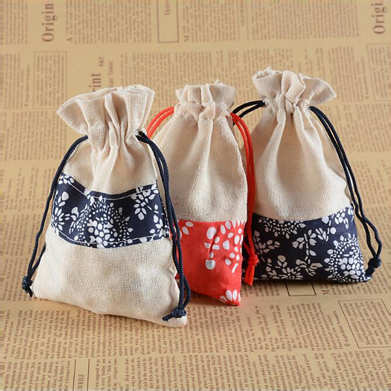 50pcs/lot Dark blue and Red linen cloth gift bag Wedding party candy packaging box Jewelry storage b