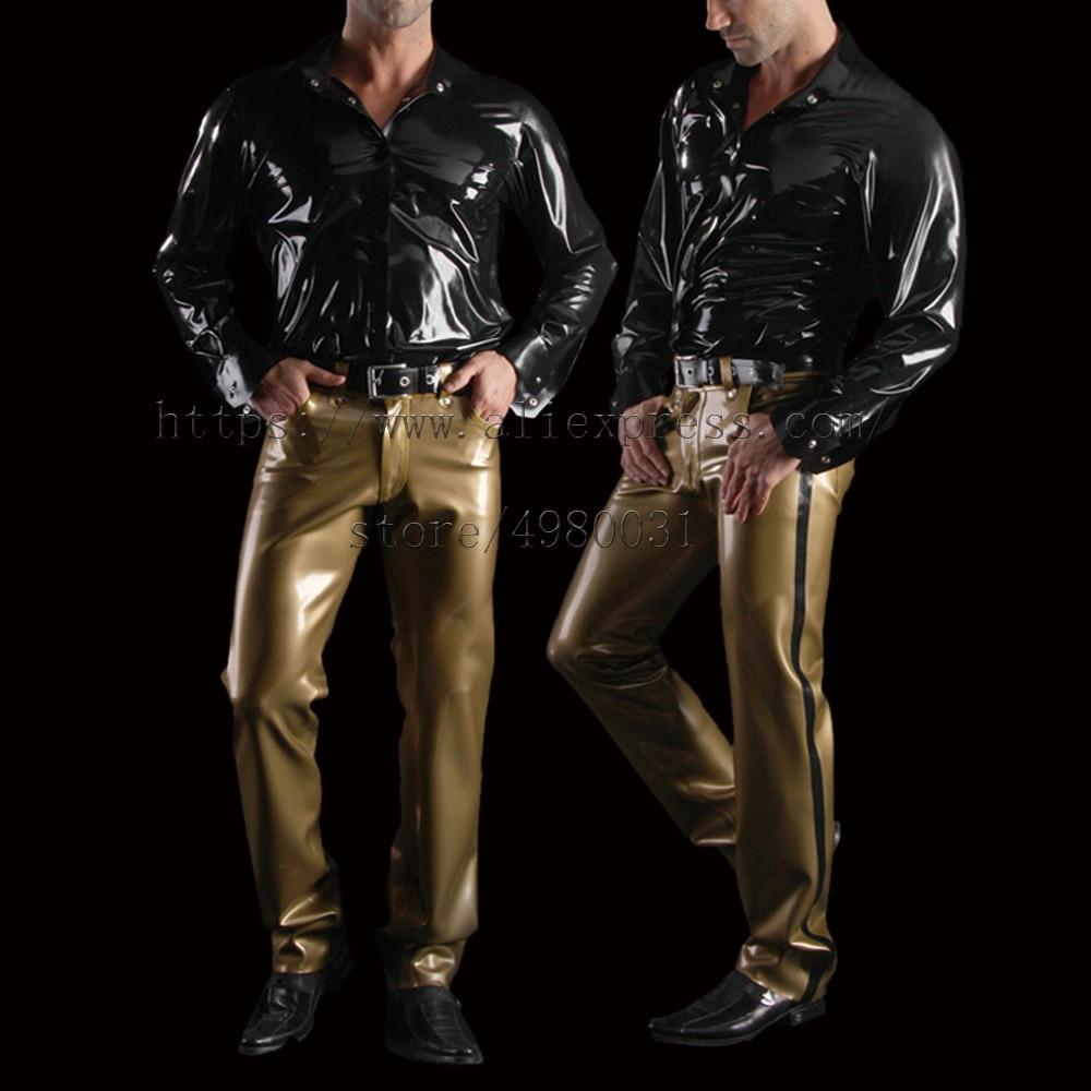 Bling gold color latex trouser men with black stripes decoration no belt