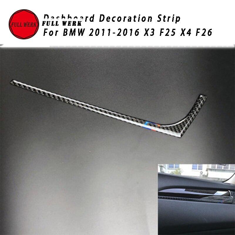 1pc Epoxy Carbon Fiber Car Dashboard Strip Decoration Cover Center Control Sticker for BMW 2011-2016 X3 X4 F25 F26 Accessories