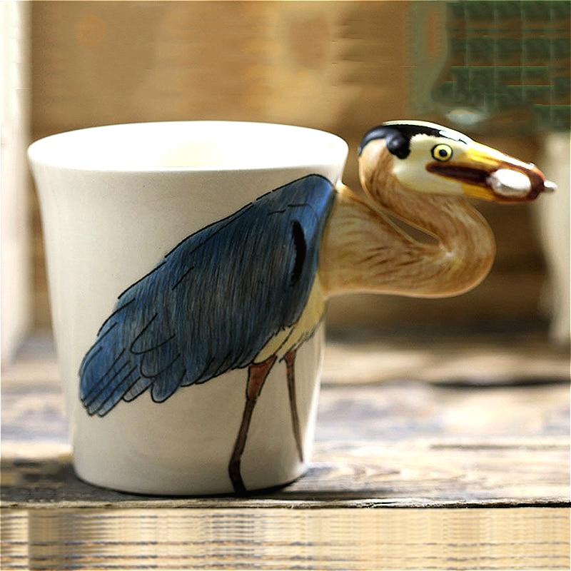 3D taza de café tridimensional de pescado azul heron, Taza de cerámica creativa pintado a mano con animal, taza de regalo de dibujos animados con mango personalizado