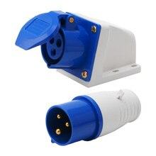 16 Amp 3 Pin Industrial Plug or Socket 220-250V Weatherproof IP44 2P