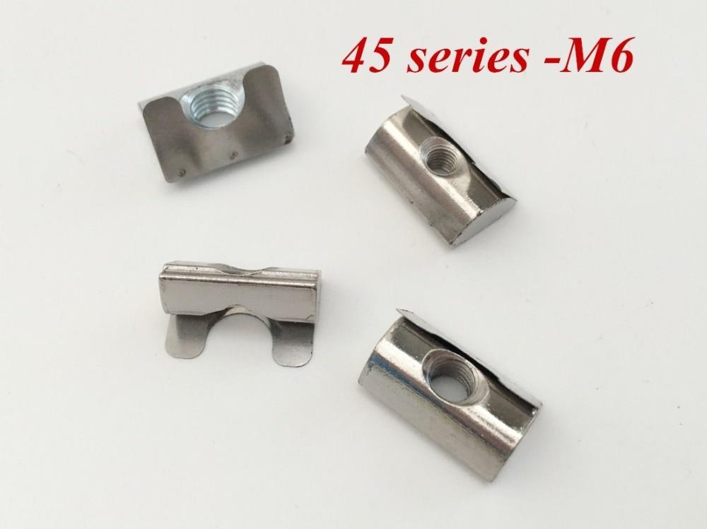 100 unids/lote M6 tuerca de ranura en T enrollable con tuerca elástica de hoja de resorte accesorios de aluminio para perfil de aluminio de la serie 45