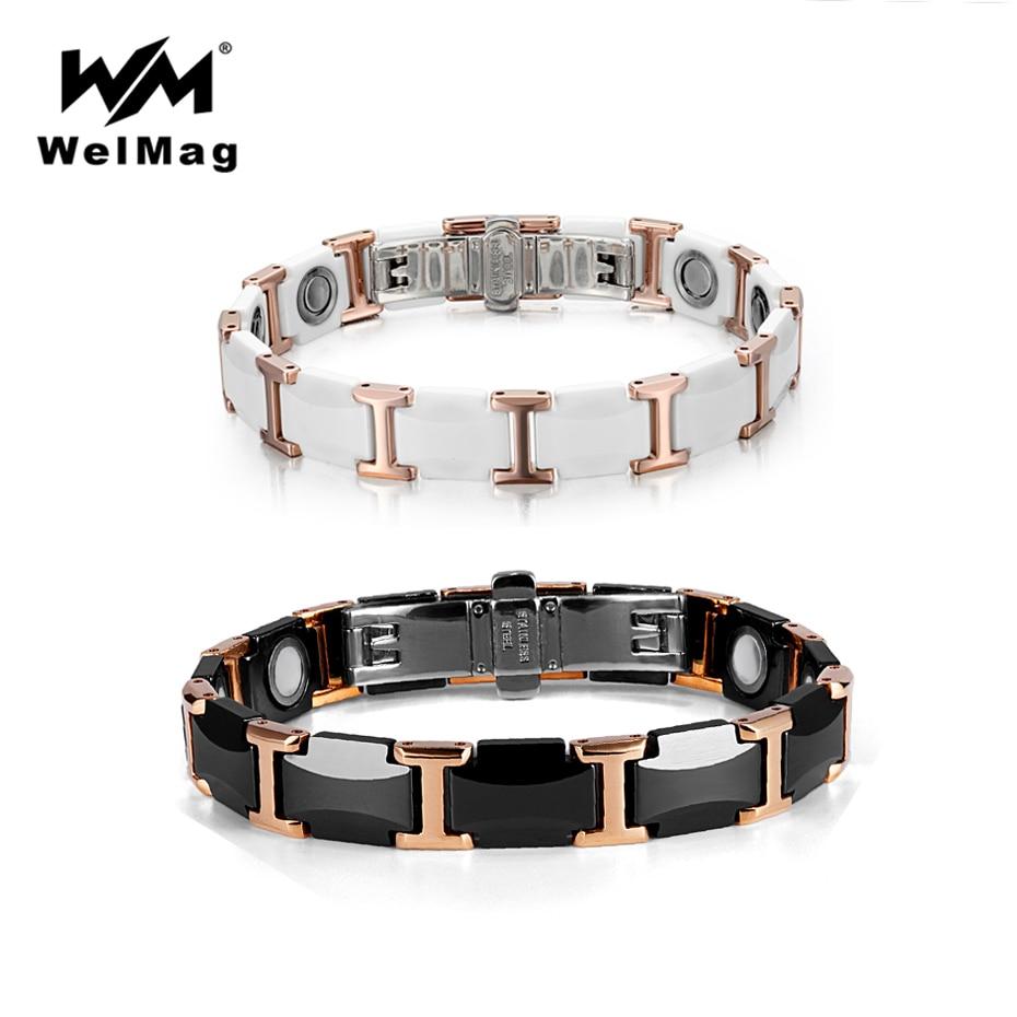 WelMag-سوار مزدوج من السيراميك التنغستن ، وأساور مغناطيسية قوية ، والطاقة الصحية ، والمجوهرات الفاخرة للرجال والنساء