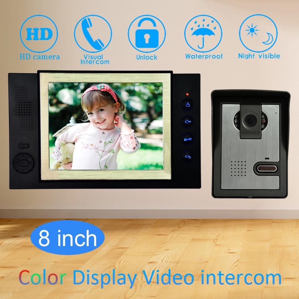 8'' Color LCD Video Door Phone House Garden improvement Device Wire Doorbell Door Release Unlock Night Vision IR Camera