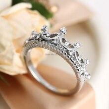 1Pc Zilver Kleur Classic Rhinestone Kroon Ring Prinses Ring Engagement Wedding Nieuwe Amerikaanse Maat 6 7 8 9 10