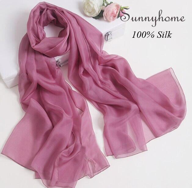 Winter Tube Bandana Womens Scarfs 2016 100% pure Silk Wholesale Cape Shawl Solid Purple Brand Designer Ladies Silk pashmina