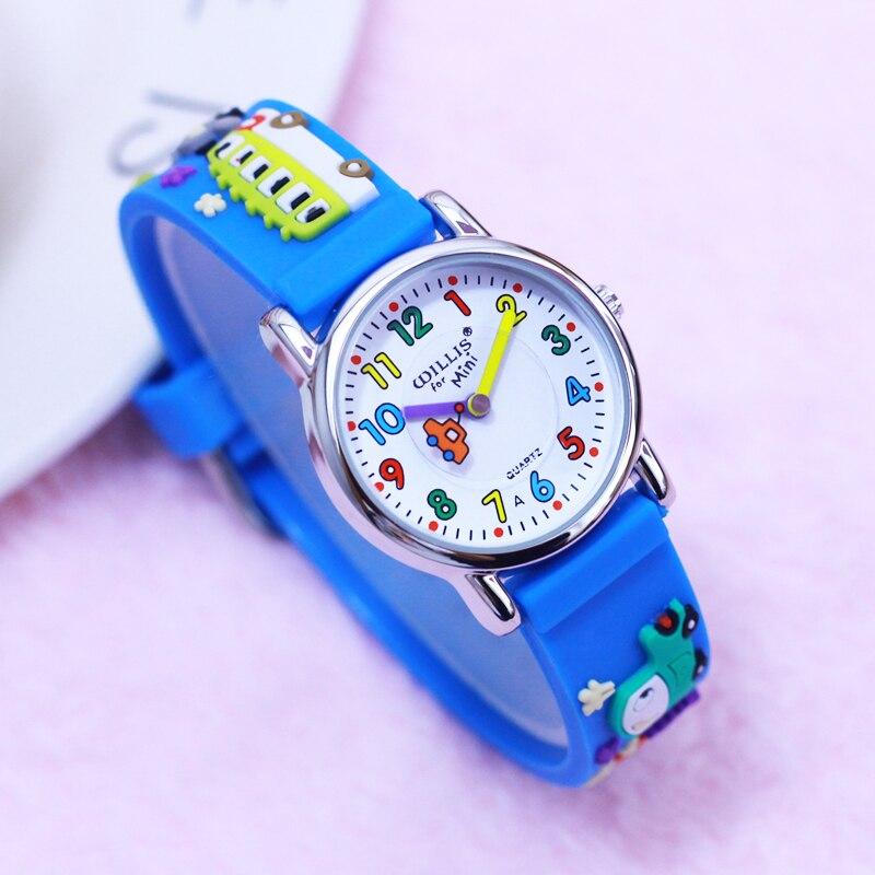 2018 new hot seller children boys 3D cartoon silicone quartz clock kids students cool truck school b