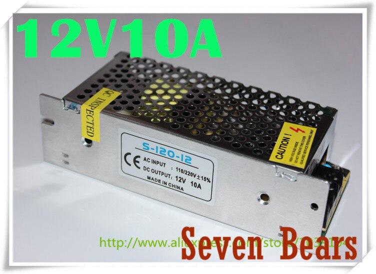 Mini fuente de alimentación conmutada 12V 10A 120W AC100-240V a DC12V 10A adaptador de Controlador Led para tiras Led al por mayor envío gratis