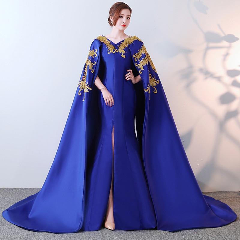 Nuevo 2019 Cheongsam de fiesta Oriental mujeres Maxi Vestido de moda estilo chino elegante largo Qipao de lujo Trailing Robe Vestido S-XXXL