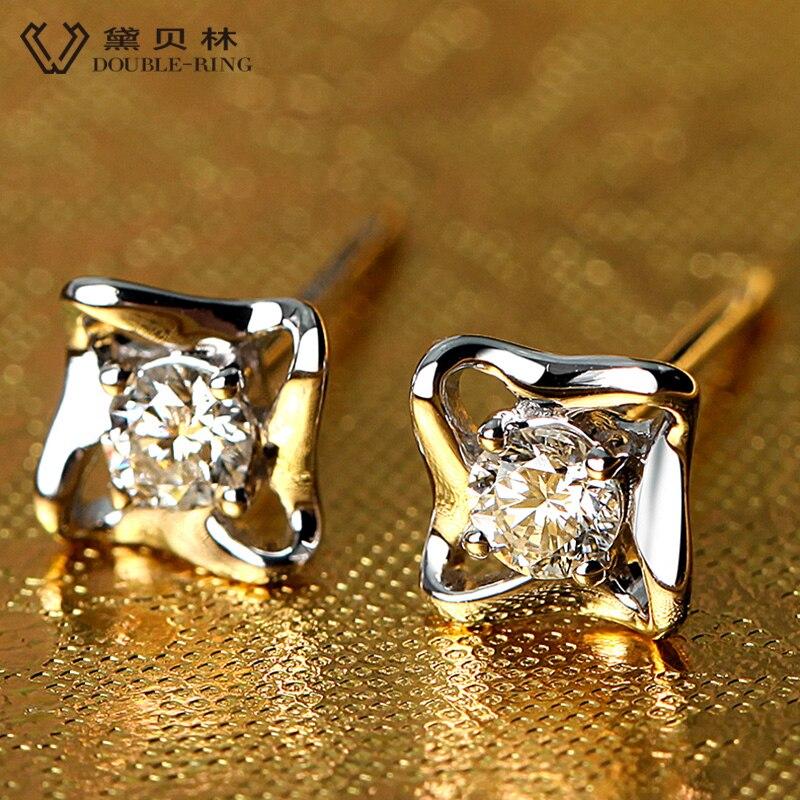 DOUBLE-R diamante genuino oro blanco puro sólido Real 18k pendientes de diamantes 18k pendientes de perno para niñas