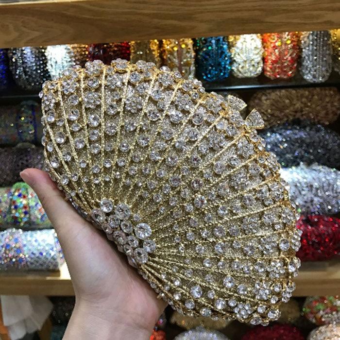 Bolso De mano y bolso De Metal con diamantes color champán para...