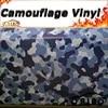 Bleu blanc Camouflage vinyle Film de protection pour voiture autocollant autocollant avec Air libre bulle taille: 1.52*5/10/15/20/25/30 mètres