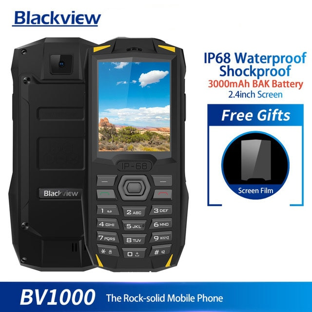 Blackview BV1000 IP68 impermeable a prueba de golpes robusto teléfono móvil 2,4 pulgadas MTK6261 3000mAh Dual SIM Mini linterna para teléfono móvil