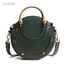 Bolsa feminina totes moda circular de couro retro marca anel de metal bolsa para a menina pequena senhora redonda ombro sacos mensageiro sajose