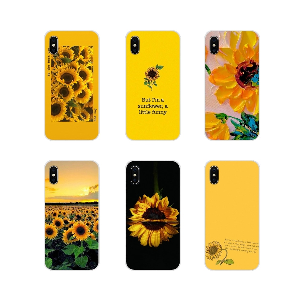 Przezroczysty miękki pokrowiec na Huawei P Smart Mate Honor 7A 7C 8C 8X9 P10 P20 Lite Pro Plus piękny żółty kwiat słonecznika