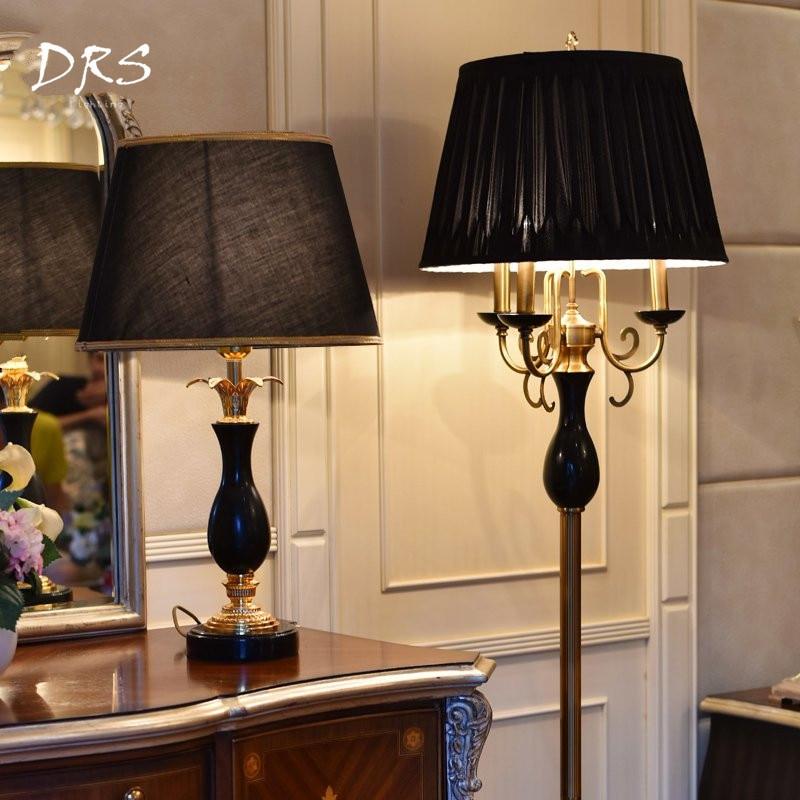 Lámpara De pie De lujo Negro Nórdico, sala De estar clásicas americanas para lámparas De pie, Luminaria De Mesa, lámpara De pie, accesorios De lámpara