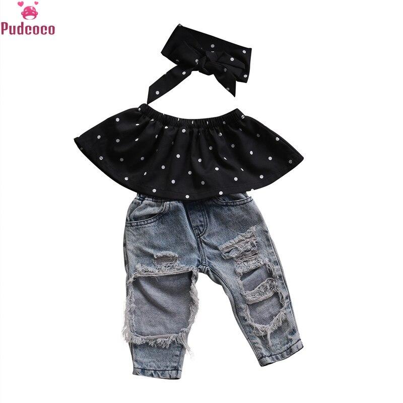 Pudcoco, moda de 3 uds, ropa para niñas pequeñas, Tops sin mangas de lunares + Pantalones vaqueros con agujeros, diadema, conjunto de ropa para niñas, ropa para niños
