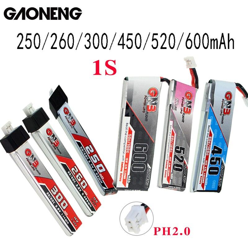 5 uds Gaoneng GNB FPV baterías 250/260/300/450/520/600mAh 1S PH2.0 macho Lipo batería para Emax Tinyhawk Kingkong LDARC pequeño