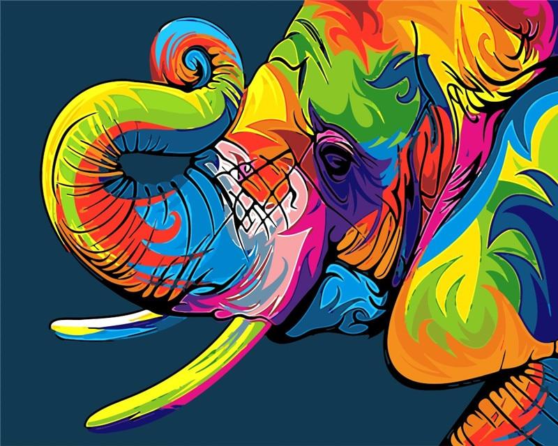 Цветные фотографии слона для детей DIY Цифровая живопись цифры краска по номеру картина маслом на хлопковой детской комнате Декор