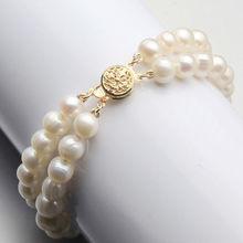 Livraison Gratuite 001375 Nouveau 7-8mm 2 Rangées Véritable Naturel Deau Douce Akoya Perle Bracelet 7.5