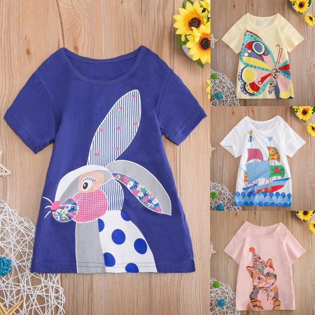 HOOLER Baby Rabbit Cartoon Tops T-Shirt Blouse Children's T-shirt Short Sleeves T-Shirt For Girls Zoo Animals pattern tops