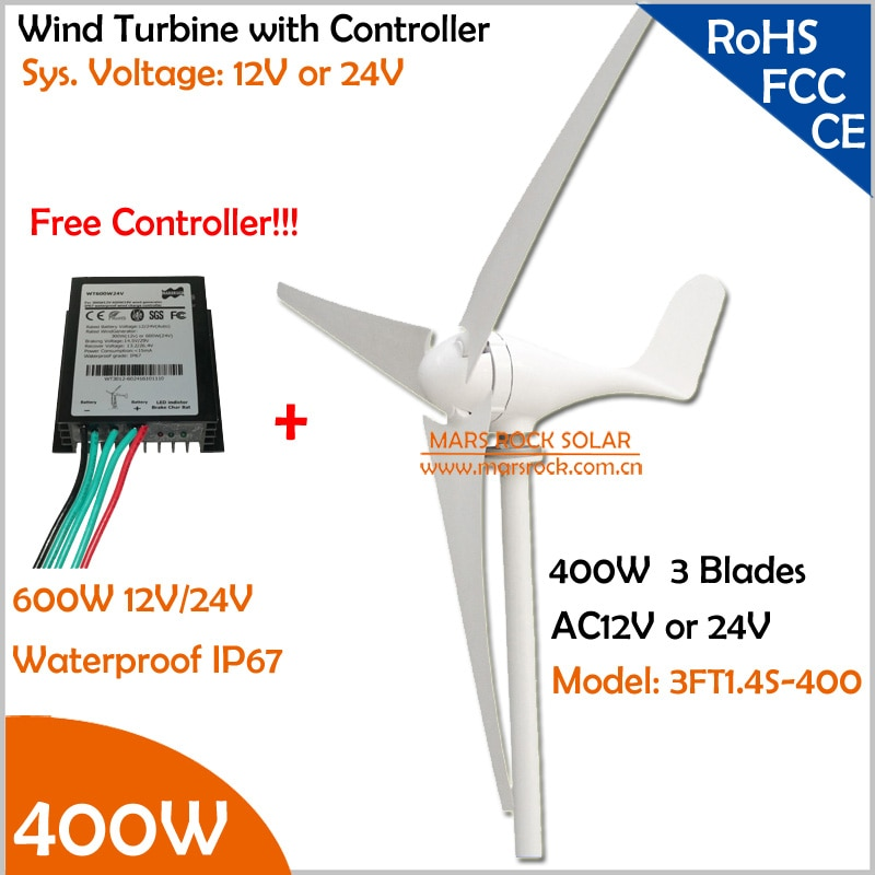Promocja producenta!!! 12 V/24 V AC 1.4m średnica koła 3 ostrza 400W wiatr generator z turbiną z bezpłatnym 600W kontroler wiatru