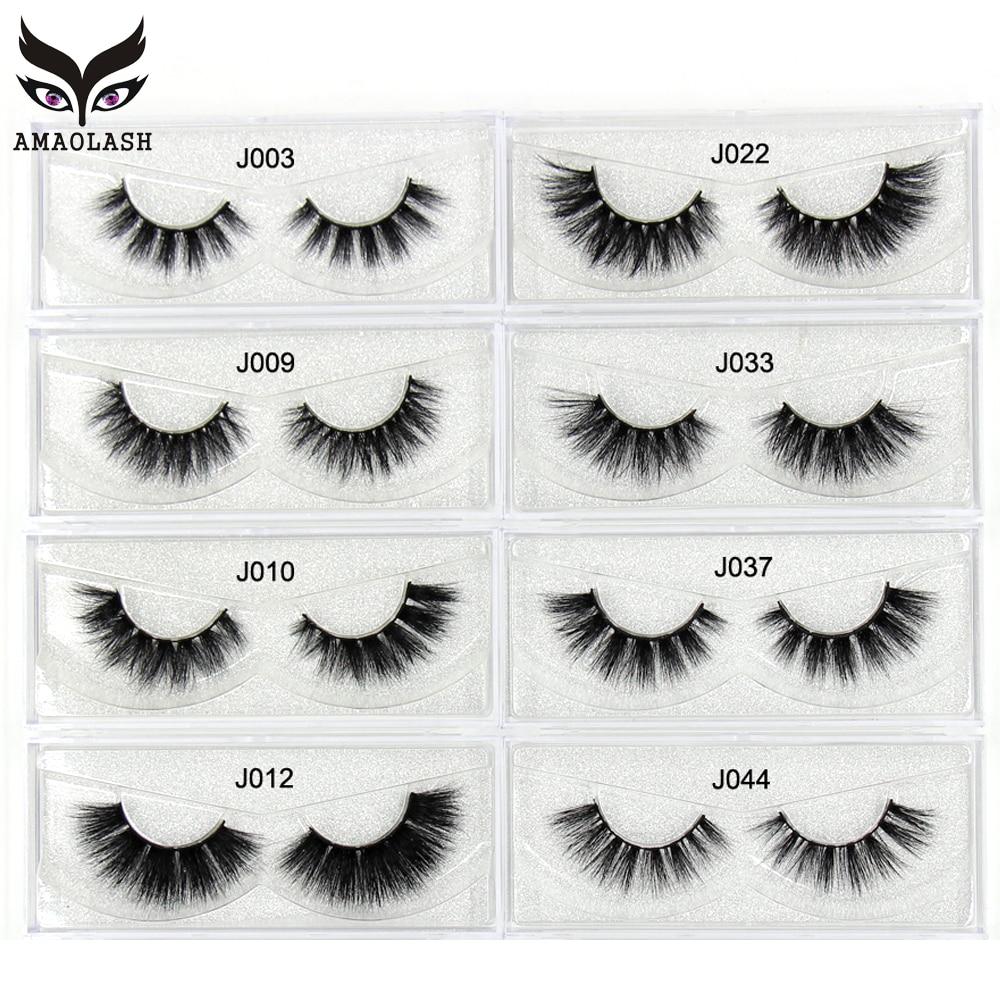AMAOLASH Mink Eyelashes 3D Mink Lashes Handmade High Volume False Eyelashes Makeup Cross Thick Eye L