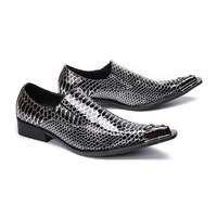 mens metal pointed toe business dress shoes mens flats oxfords slip on printed black leather mens shoes casual chaussure homme