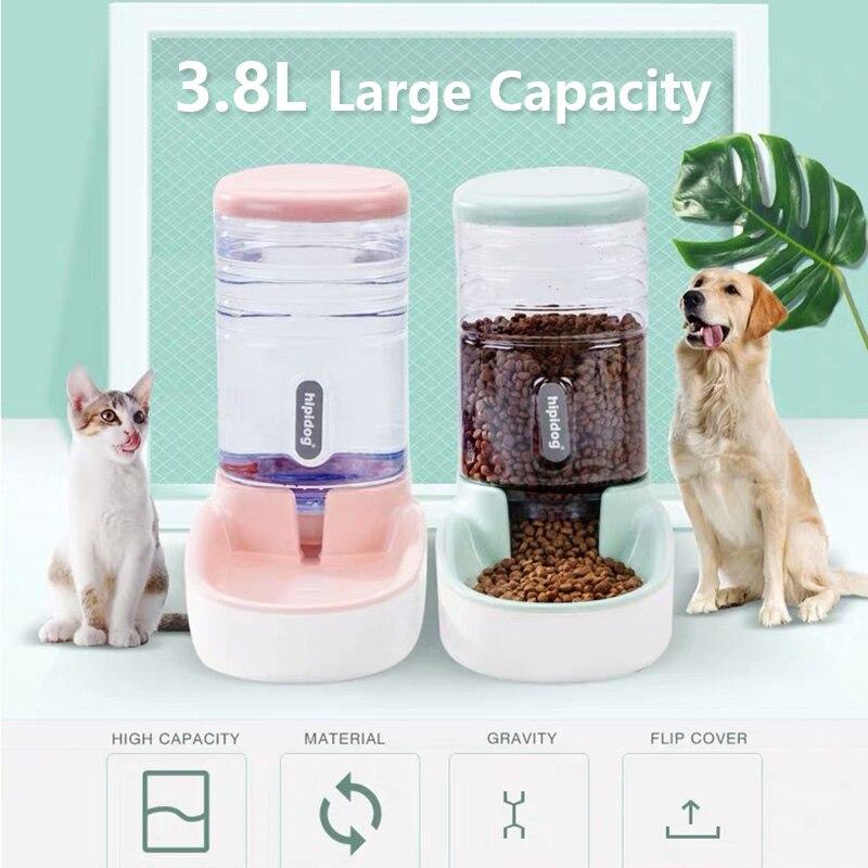 مغذيات الحيوانات الأليفة الأوتوماتيكية للقطط ، نافورة مياه كبيرة السعة سعة 3.8 لتر ، زجاجة مياه بلاستيكية للكلاب والقطط ، موزع مياه