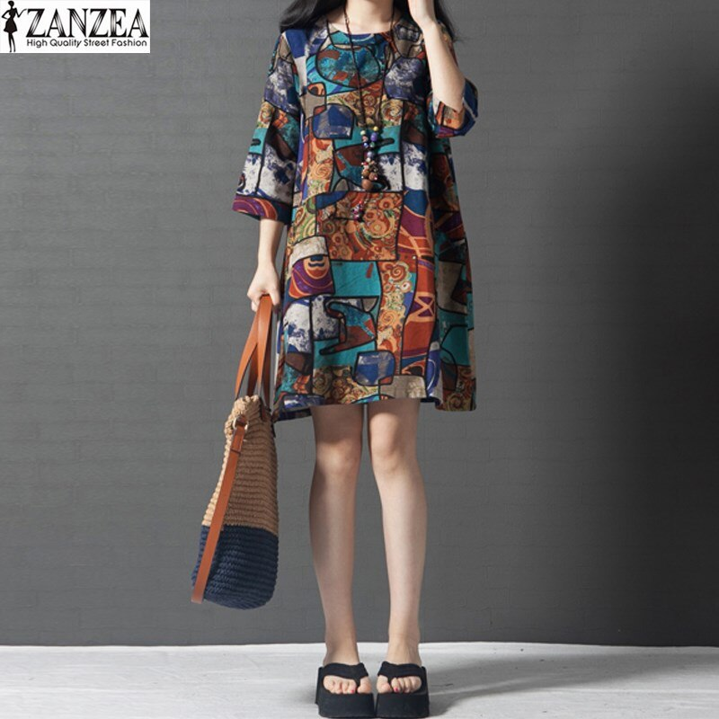 2020 ZANZEA Womens Vintage Floral Print Crewneck 3/4 Sleeve Cotton Pockets Tunic Mini Dress Summer Vestido Plus Size