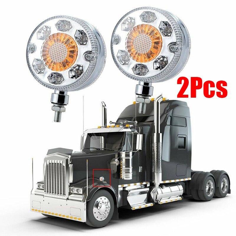 2 Pcs 24 LED Double Side Marker Lamp Turn Signal Semi Truck Fender Corner Lights