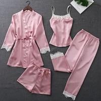 sexy 4 pieces pajamas set women faux silk lace sleeveless shirt shorts suit summer robe pants pyjamas sleepwear home wear