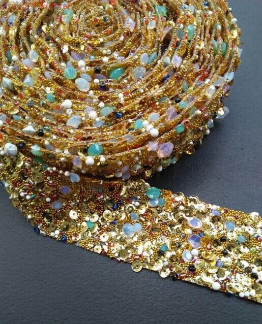 Envío Gratis, cinta de cadena de diamantes de imitación de oro de 3,5*90 cm, decoración de boda para costura, accesorios, cinturón de perforación, código de barras
