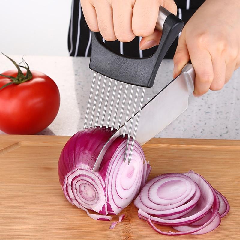 Лучший держатель для лука Нержавеющая сталь овощерезка, Держатель для картофеля лимонным резака ломтерезки, Инструменты для резки лука Металл вилка для мясная Фруктовые овощные инструменты кухонные принадлежности