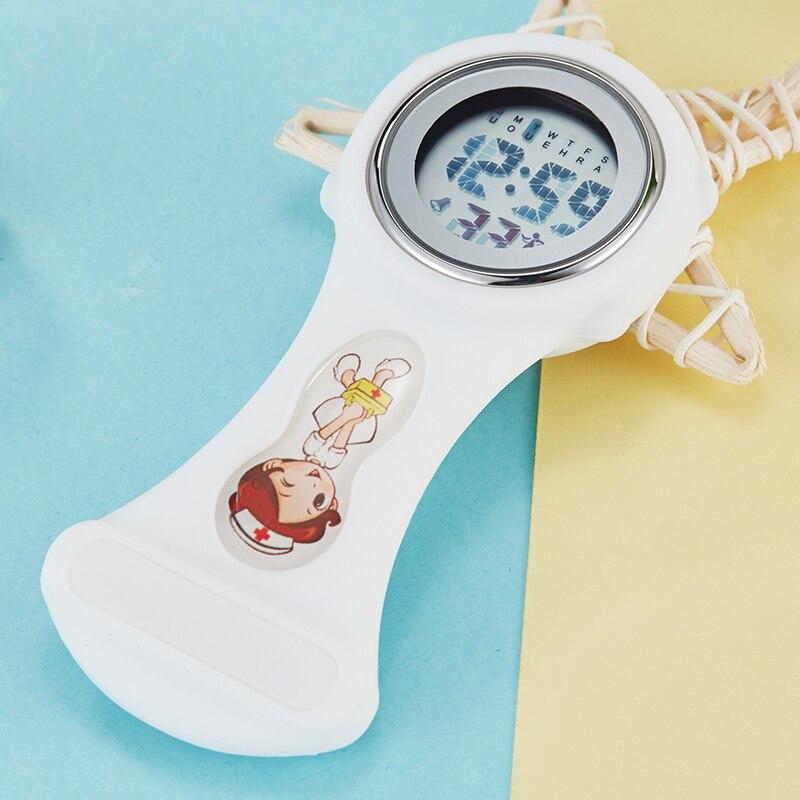 Nuevo reloj Digital de silicona para enfermera, cronómetro con alarma, solapa médica luminosa, broche para Doctor, reloj de bolsillo con Clip, reloj Fob para enfermera
