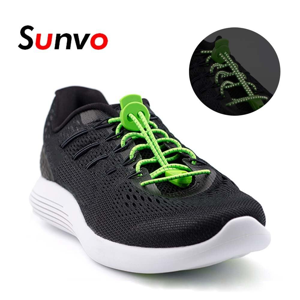 Sunvo noche reflectante elástico cordones de los zapatos con hebilla brillo luminoso cordones LED para calzado para los perezosos zapatillas Zapatillas Zapatos de deporte blanco