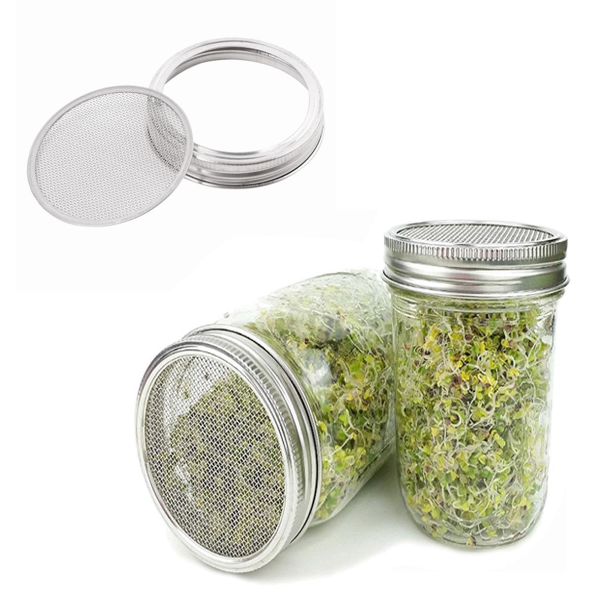 5 uds tapas de brotes de semillas colador conservas tarros de Mason Filtro de tapa de malla filtros criba de acero inoxidable para tamizar harina azúcar en polvo