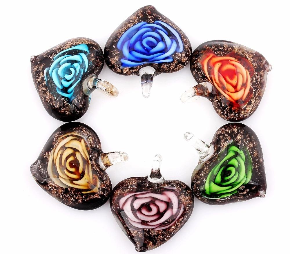 Qianbei الجملة 6 قطعة اليدوية مورانو الزجاج مزيج اللون روز زهرة القلب قلادة صالح قلادة مجوهرات هدايا المرأة